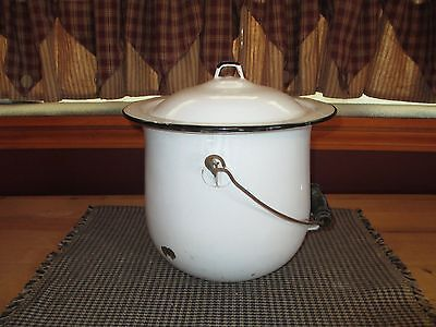 Vintage White/black Trim, Chamber Pot With Lid, Enamel W/bail Wire And Handle