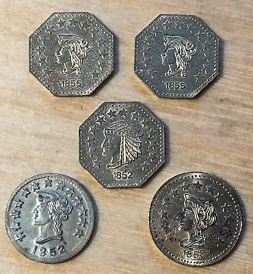 California Gold Souvenir Tokens, Lot Of 5 (#x448)