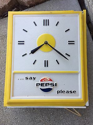 Vintage Advertising Pepsi-Cola Sign Wall Clock Light Up Say Pepsi Please