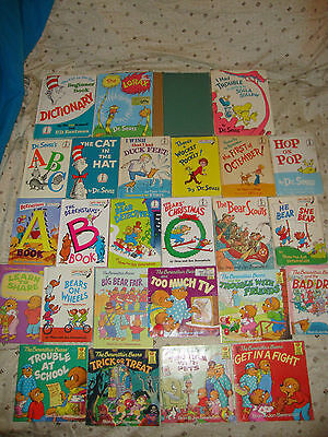 MIXED Lot of 26 Dr. Seuss/Bright Beginner AND Berenstain Bears CHILDREN'S Books