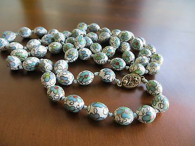 Vtg. Chines export white/ blue enamel cloisonne Gold Filigree clasp necklace 33""