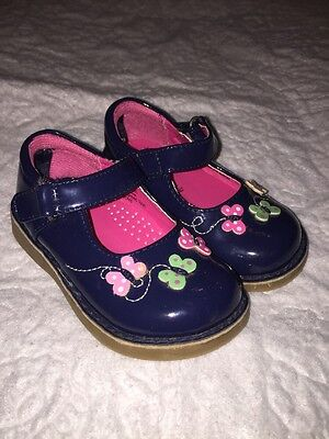 Gymboree Toddler Baby Girls Mary Jane Butterfly Shoes Navy Size 5