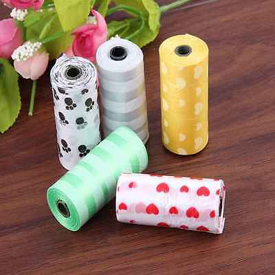 5 Rolls Garbage Pick Up Pooper Bags Dog Pet Waste Clean Doggy Paw Printing