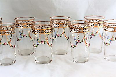 Set 8 Antique Enameled Flowers Gold Encrusted Small Tumblers Glasses Moser Style