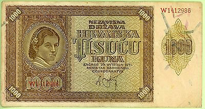 wc209: Croatia 1000 Kuna 26 May 1941