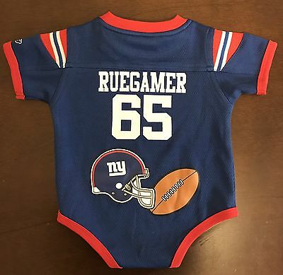 Rare Vintage NFL New York Giants Grey Ruegamer Football Jersey Onesie 6-9  Months ddc252207
