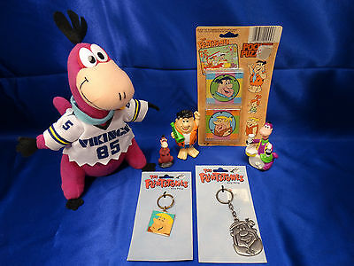 Flintstones Dino 1994 Hanna Barbera Barney Keyrings & Puzzle Pocket Figures Lot