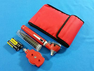 RED MINI FIBER OPTIC Otoscope Ophthalmoscope ENT Diagnostic + Batteries KIT