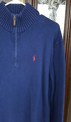 POLO by Ralph Lauren 1/4 Zip Blue Pullover Sweater Size XL