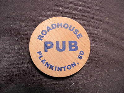 Plankinton, South Dakota Wooden Nickel token - Roadhouse Pub Wooden Drink Coin