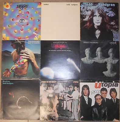 Todd Rundgren & Utopia, 9 Vinyl Record Lot, 7 LP & 2 DLP, All US 1st Prs, Prog