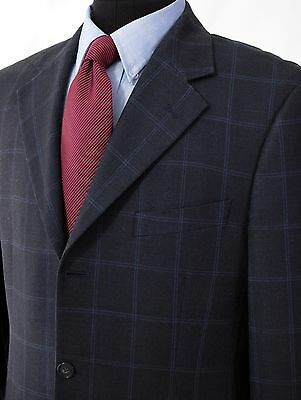40R Brooks Brothers Gray Blue Check 3 Button Silk Wool Blazer Sport Coat Jacket