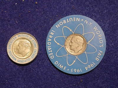 2 Different Irradiated Silver Dimes, Worlds Fair Museum Of Atomic Energy