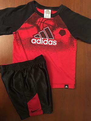 ~AWESOME OUTFIT~ Nike Adidas Boys SHIRT & REVERSIBLE SHORTS: RED BLACK (4t, 5)