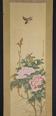 """JAPANESE HANGING SCROLL ART Painting """"Bird and Flowers"""" Asian antique  #E4934"""