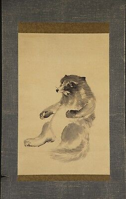 "JAPANESE HANGING SCROLL ART Painting ""Bear"" Asian antique  #E4965"