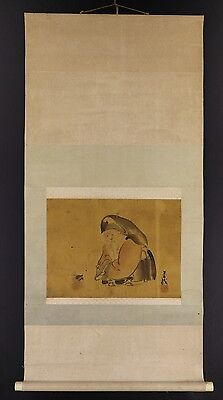 JAPANESE HANGING SCROLL ART Painting  Asian antique  #E4966