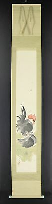 "JAPANESE HANGING SCROLL ART Painting ""Chickens"" Asian antique  #E4967"