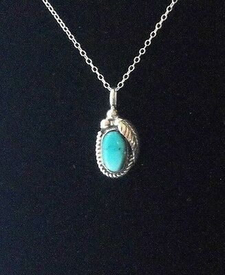 Native American BLUE MORENCI TURQUOISE & STERLING SILVER PENDANT JEWELRY