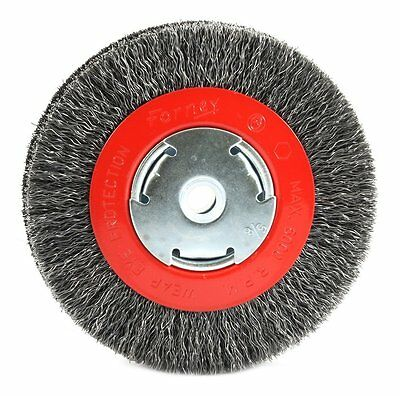 Forney 72752 Wire Bench Wheel Brush, Wide Face Coarse Crimped with 1/2-Inch and