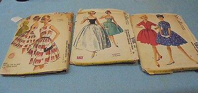 Lot of 3 Teen Junior Vintage Patterns McCall's 1960's Dresses Formal