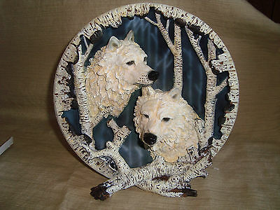 3-Dimensional Collector's Plate Features A Pair Rare White Wolves~NIB