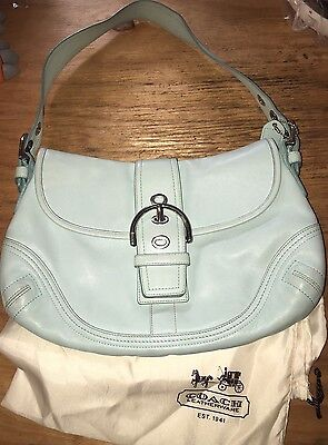 Authentic Coach Purse Hobo With Storage Bag Shoulder Purse Baby Blue