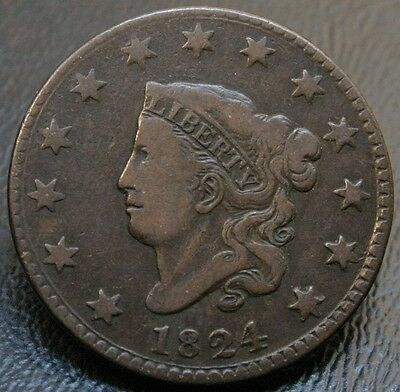 1824 N-3 Coronet Head Large Cent VF Very Fine 1C Coin