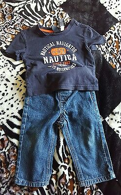 Nautica Baby Boy 2pc T-Shirt & Jeans Outfit 3-6 MONTHS Summer Clothes
