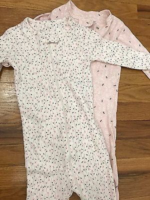 Baby Gap LOT of TWO girl 4T one piece zip pajamas pink long sleeve