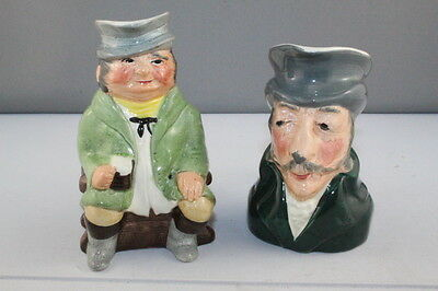 2 x Vintage Kelsboro Ware Ceramic Character Toby Jug  The Coachman & The Colonel