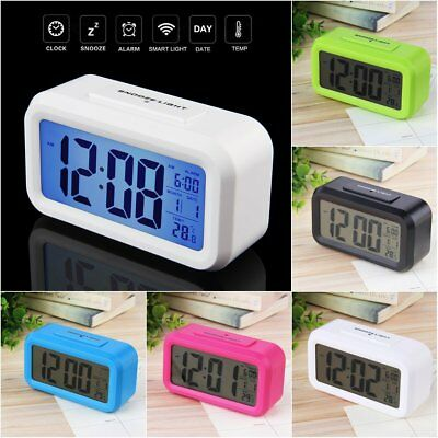 LED Digital Electronic Alarm Clock Backlight Time With Calendar + Thermometer WU