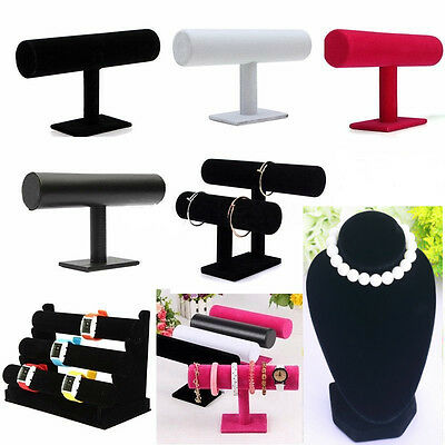 Velvet T-Bar Jewelry Rack Bracelet Necklace Stand Organizer Holder Display WU