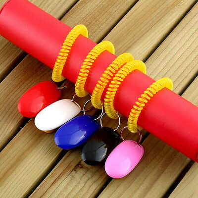 Dog&Cat Pet Click Clicker Training Obedience Agility Trainer Aid Wrist Strap WU