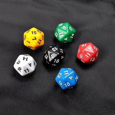 6 Set D20 Gaming Dice Twenty Sided Die RPG D&D Six Opaque Colors XP