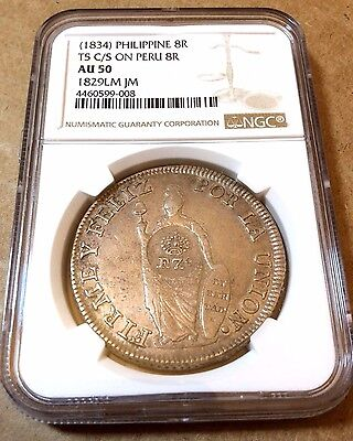 1834 Philippines counterstamp on 1829 Peru 8 Reales countermark silver NGC AU50