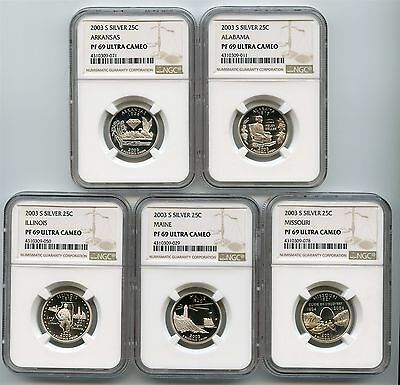 2003 S Silver Proof State Quarters NGC PF69 Ultra Cameo Set