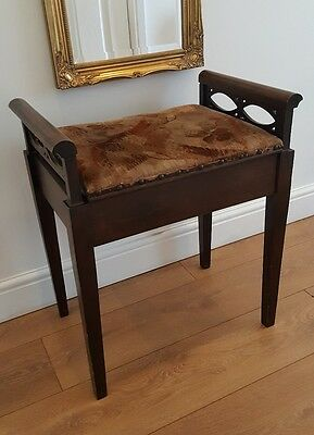 Vintage Wooden Cushioned Seat Piano stool with under seat storage