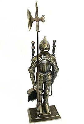Figure Medieval Decor Middle Ages Knight Cast Iron Fireplace Set Antique Brass