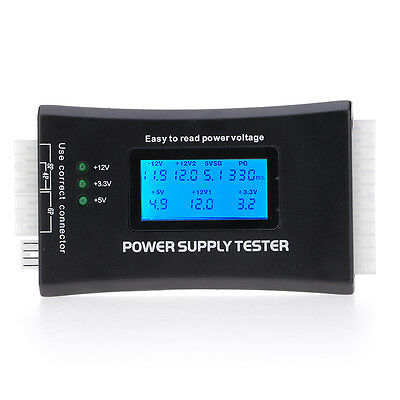 20/24 Pin Power Supply Tester Voltage LCD Test 4 SATA BTX HDD Für Computer PC