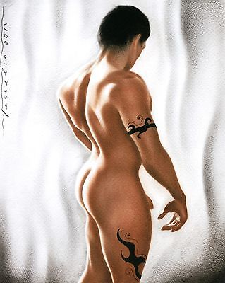 Male Nude Print Of Painting - Untitled 8 x 10 Signed By Artist Vesselin Andreev