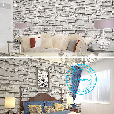 Art House 3D Textured Brick Effect Wallpapers Stone Wall Panels Papers 10M Grey