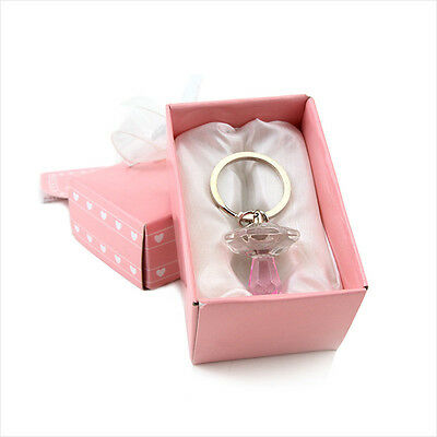 Souvenir Gift Party Baby Wedding Crystal Pink Pacifier Key Chains