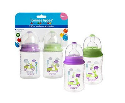 NEW Tommee Tippee 250ml Deorated Wide Neck Bottle Twin Pack FREE Postage