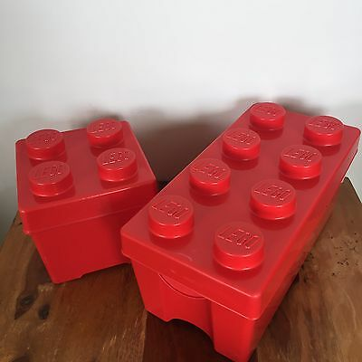 Two Large Red Lego Brick Storage Boxes 8 Stud And 4 Stud