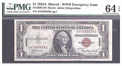 Fr# 2300 $1 1935A Hawaii Silver Certificate  Pmg 64Epq Choice Uncirculated