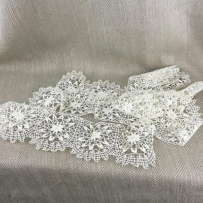 Antique Lace Flounce Border Trim Hand Made Bobbin Fine Delicate 1.9m 2 yards
