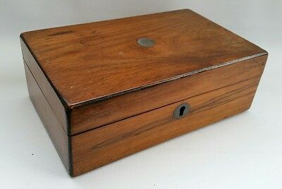 Vtg Victorian Mahogany Wooden Jewellery Sewing Trinket Box Chest