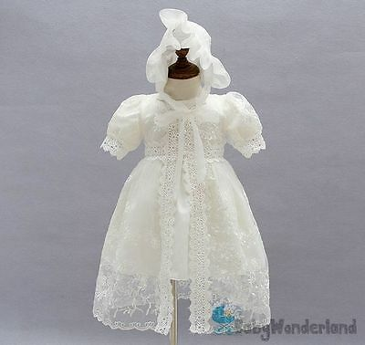 Baby Girls 3 Pcs Ivory Christening Gown Baptism Gown Birthday Lace Dress  0-2Y