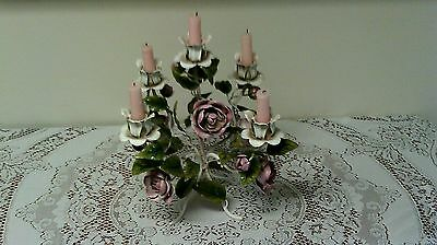 Gorgeous Roses Toleware Candle Holder